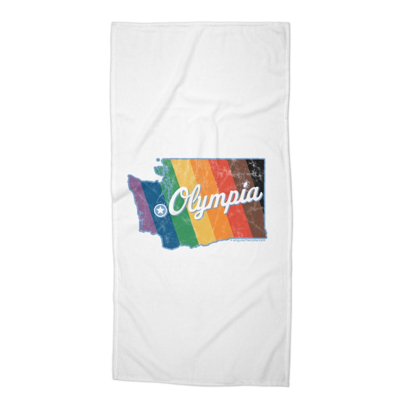 Olympia WA Rainbow Pride Map Accessories Beach Towel by SymerSpace Art Shop