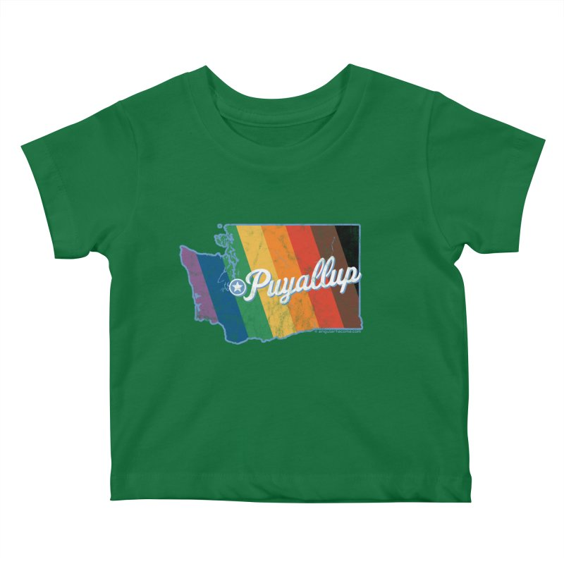 Puyallup WA Rainbow Pride Map Kids Baby T-Shirt by SymerSpace Art Shop