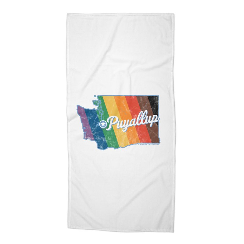 Puyallup WA Rainbow Pride Map Accessories Beach Towel by SymerSpace Art Shop