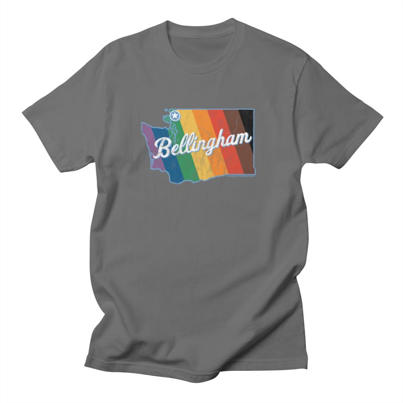 Bellingham WA Rainbow Pride Map Men's T-Shirt by SymerSpace Art Shop