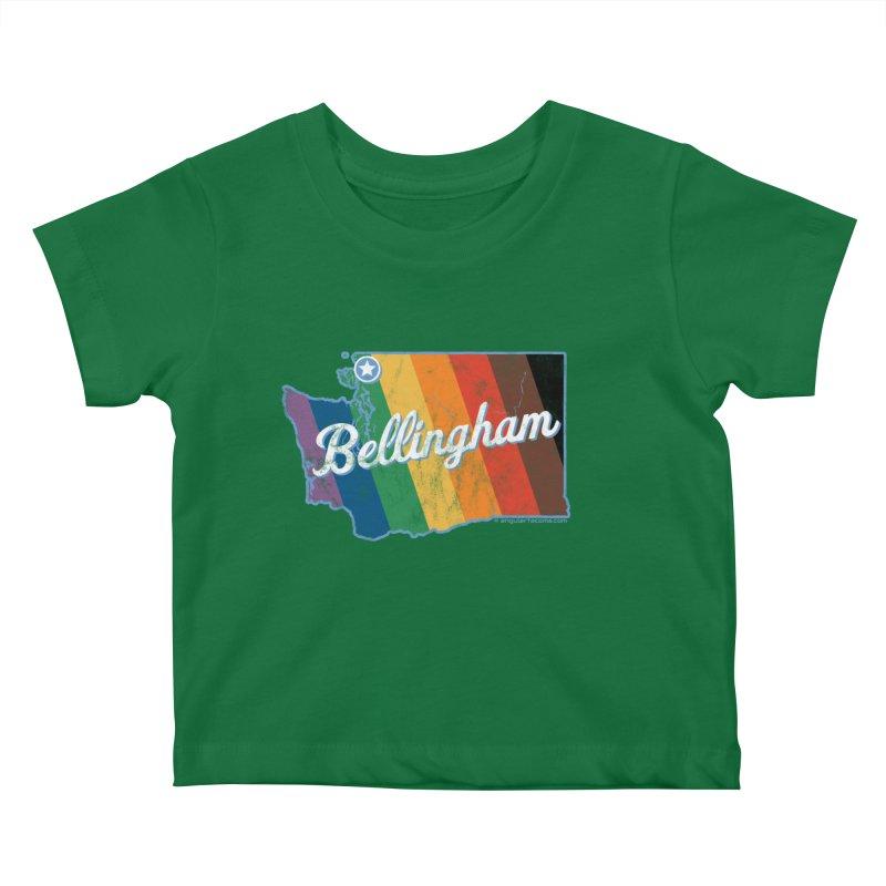 Bellingham WA Rainbow Pride Map Kids Baby T-Shirt by SymerSpace Art Shop