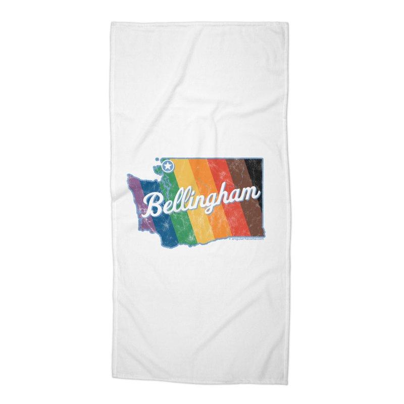 Bellingham WA Rainbow Pride Map Accessories Beach Towel by SymerSpace Art Shop