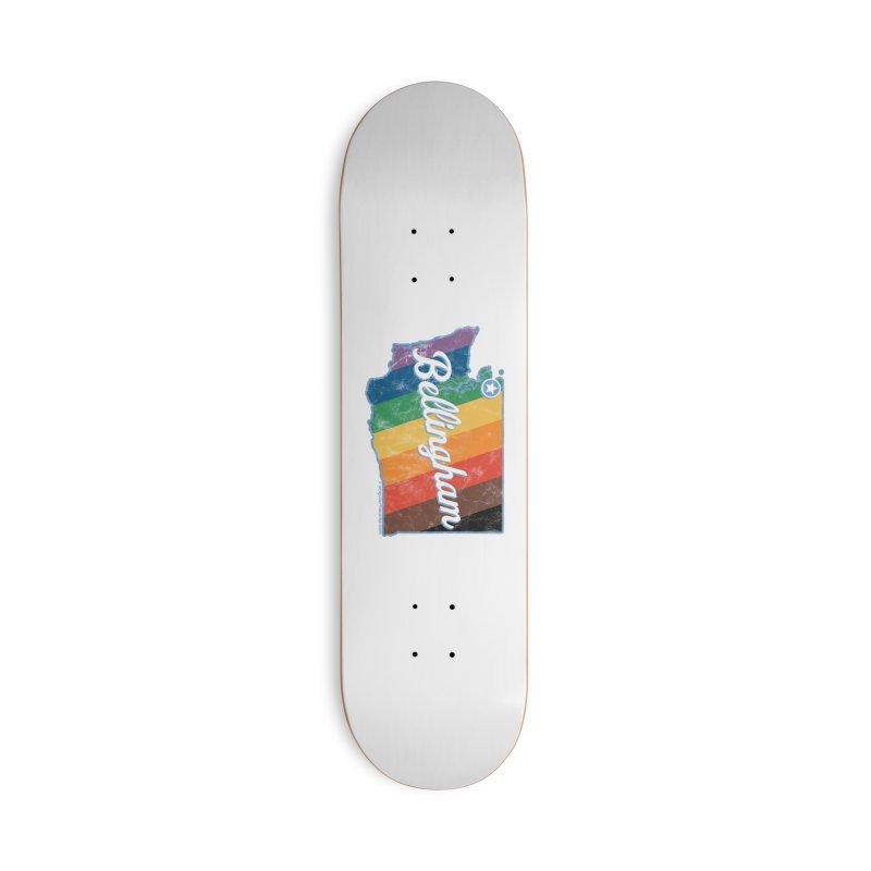 Bellingham WA Rainbow Pride Map Accessories Skateboard by SymerSpace Art Shop