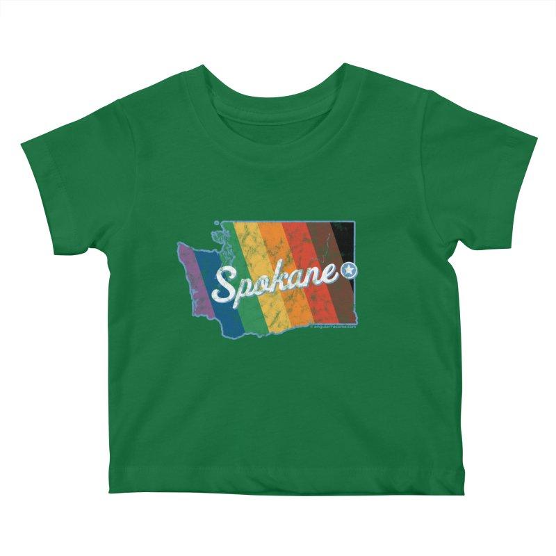 Spokane WA Rainbow Pride Map Kids Baby T-Shirt by SymerSpace Art Shop