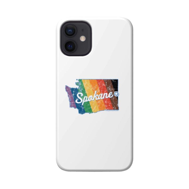 Spokane WA Rainbow Pride Map Accessories Phone Case by SymerSpace Art Shop