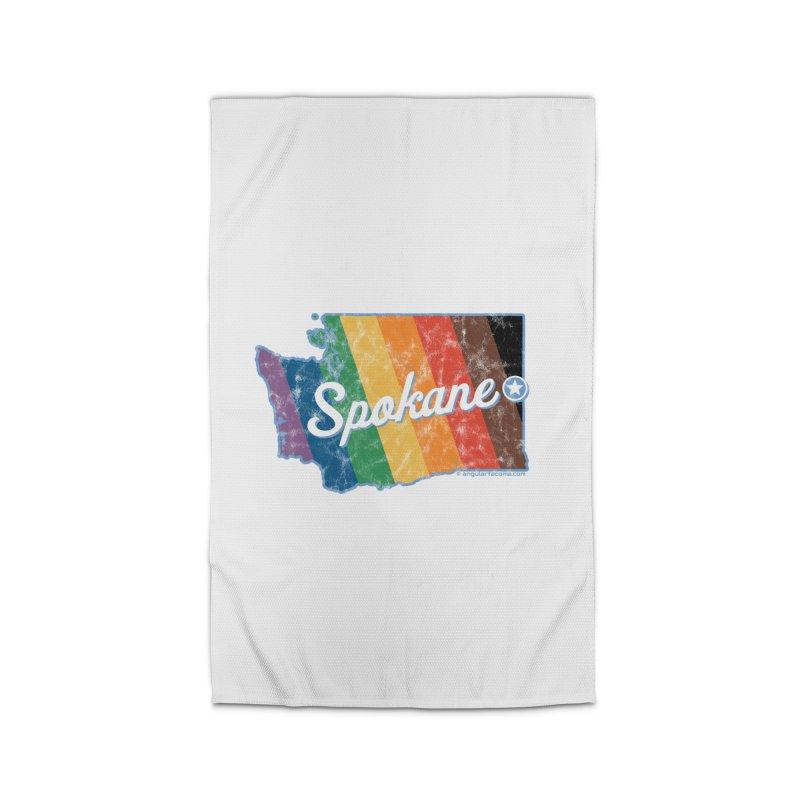 Spokane WA Rainbow Pride Map Home Rug by SymerSpace Art Shop