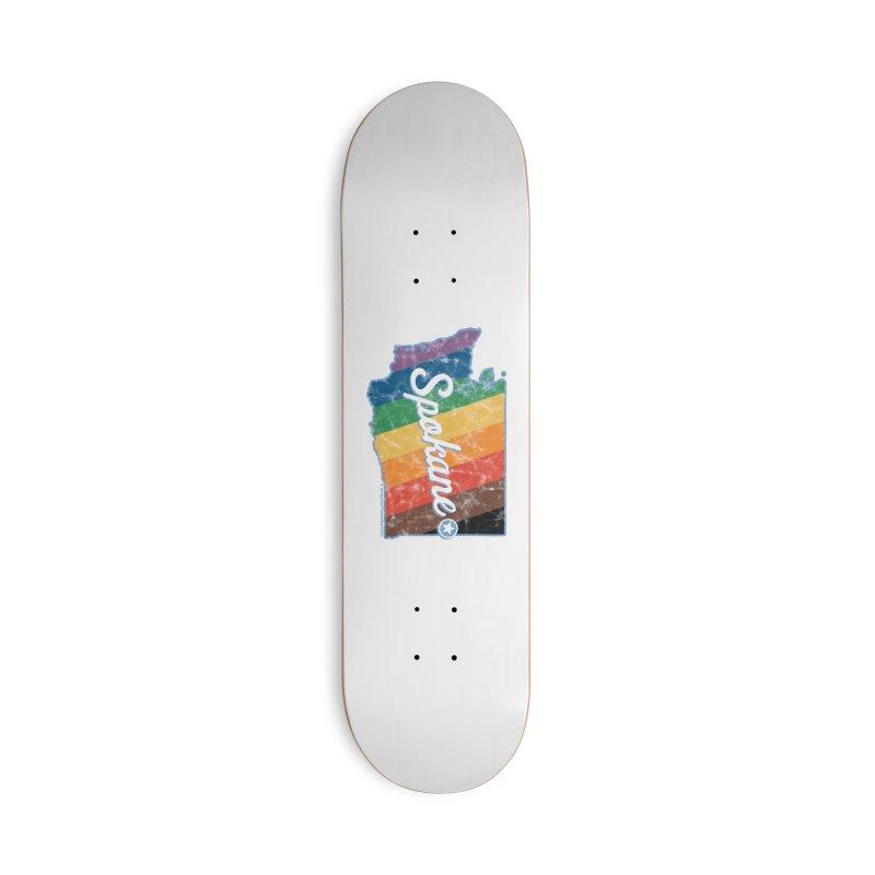 Spokane WA Rainbow Pride Map Accessories Skateboard by SymerSpace Art Shop