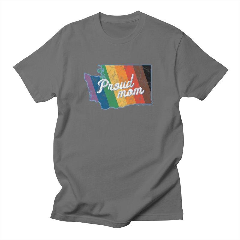 Proud Mom WA Rainbow Pride Map Men's T-Shirt by SymerSpace Art Shop