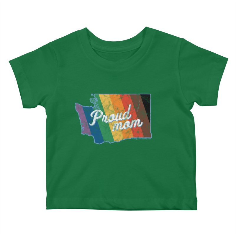 Proud Mom WA Rainbow Pride Map Kids Baby T-Shirt by SymerSpace Art Shop