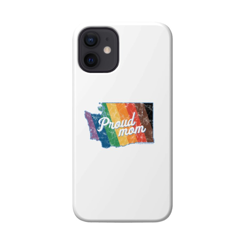 Proud Mom WA Rainbow Pride Map Accessories Phone Case by SymerSpace Art Shop