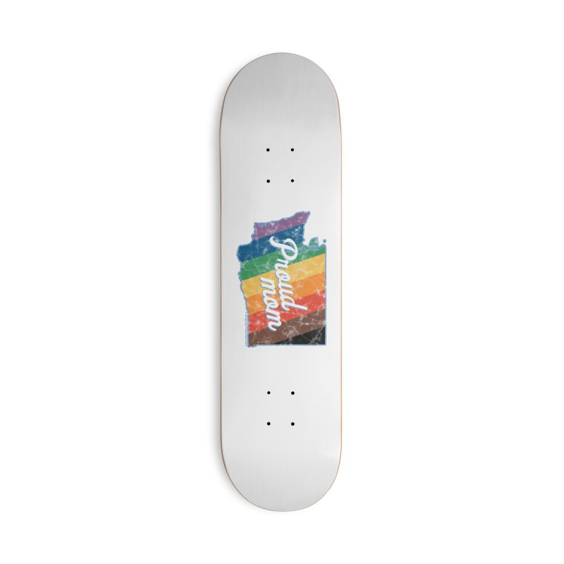 Proud Mom WA Rainbow Pride Map Accessories Skateboard by SymerSpace Art Shop