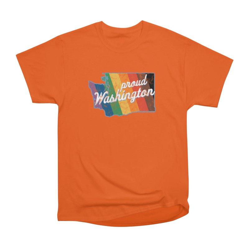 Proud Washington WA Rainbow Pride Map Men's T-Shirt by SymerSpace Art Shop