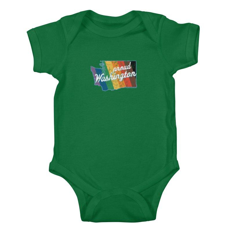 Proud Washington WA Rainbow Pride Map Kids Baby Bodysuit by SymerSpace Art Shop