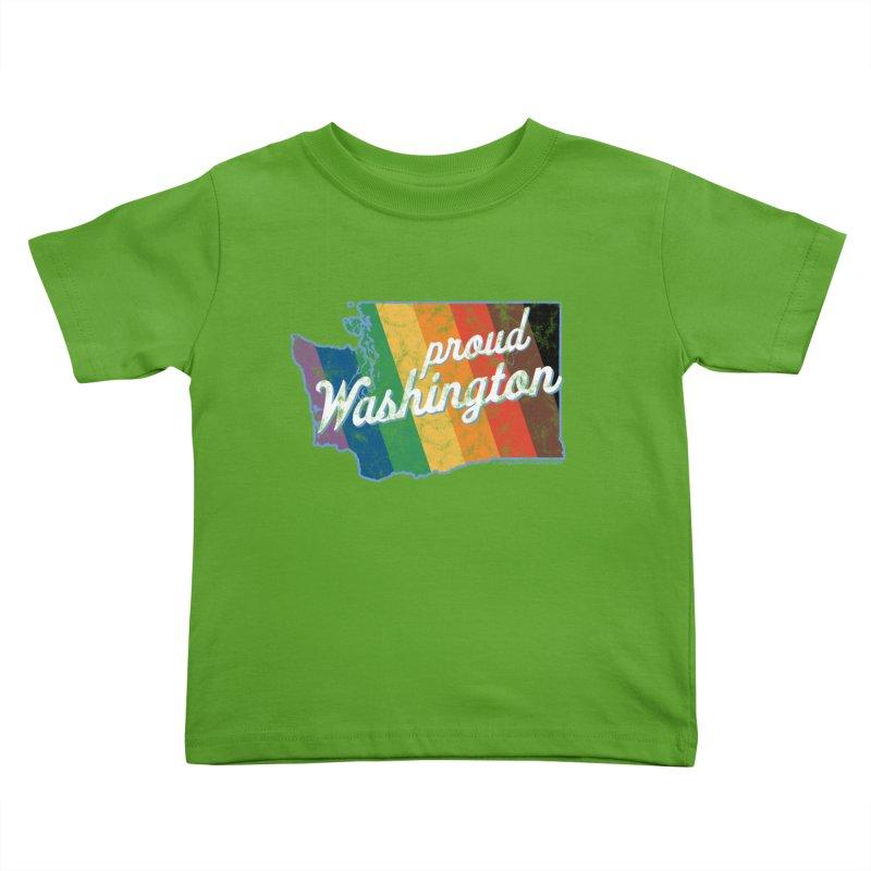 Proud Washington WA Rainbow Pride Map Kids Toddler T-Shirt by SymerSpace Art Shop