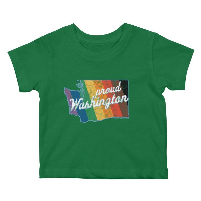 Proud Washington WA Rainbow Pride Map Kids Baby T-Shirt by SymerSpace Art Shop
