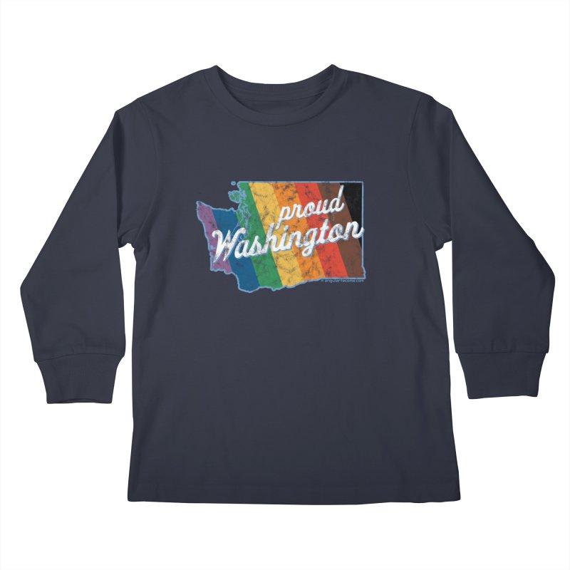 Proud Washington WA Rainbow Pride Map Kids Longsleeve T-Shirt by SymerSpace Art Shop