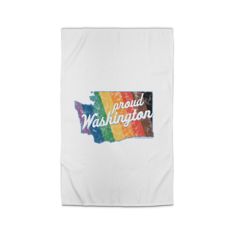 Proud Washington WA Rainbow Pride Map Home Rug by SymerSpace Art Shop