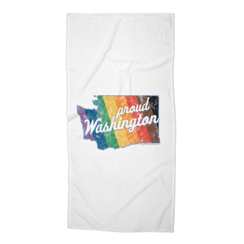 Proud Washington WA Rainbow Pride Map Accessories Beach Towel by SymerSpace Art Shop