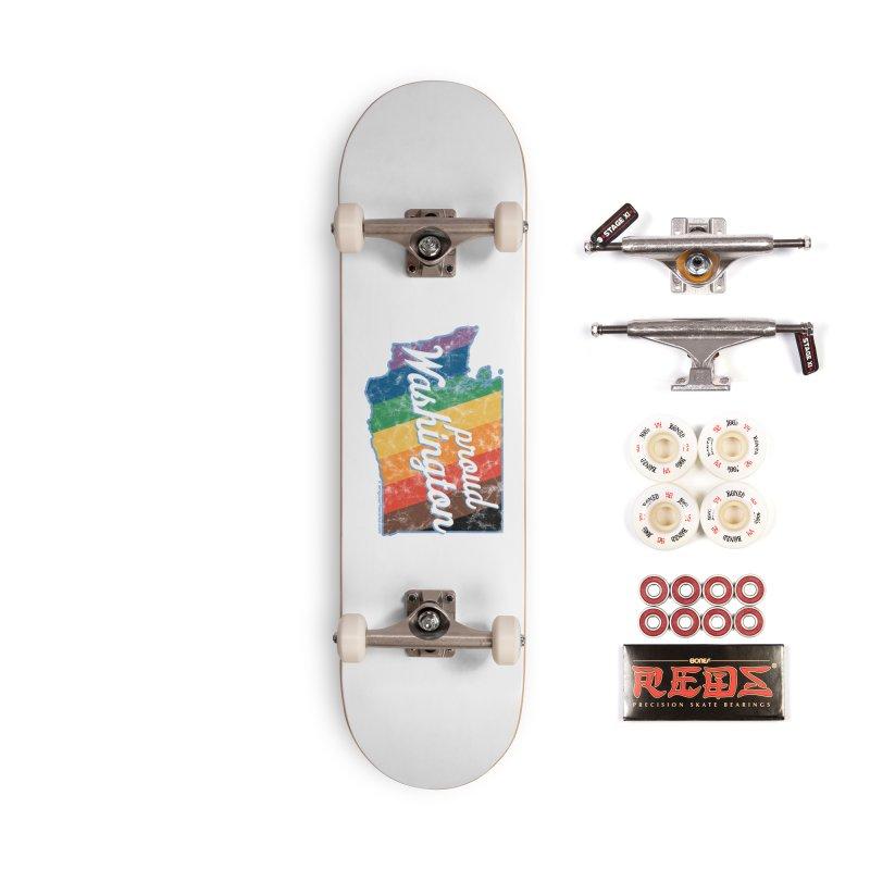 Proud Washington WA Rainbow Pride Map Accessories Skateboard by SymerSpace Art Shop