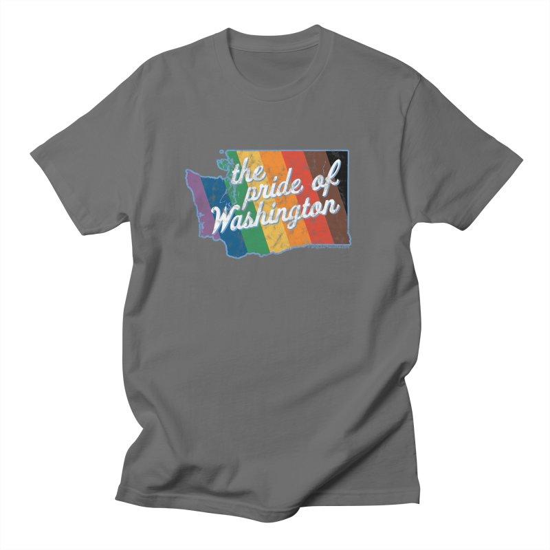 The Pride of Washington WA Rainbow Pride Map Men's T-Shirt by SymerSpace Art Shop