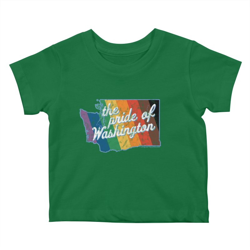 The Pride of Washington WA Rainbow Pride Map Kids Baby T-Shirt by SymerSpace Art Shop