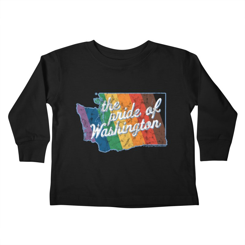 The Pride of Washington WA Rainbow Pride Map Kids Toddler Longsleeve T-Shirt by SymerSpace Art Shop