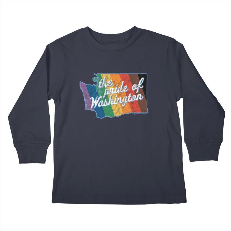 The Pride of Washington WA Rainbow Pride Map Kids Longsleeve T-Shirt by SymerSpace Art Shop
