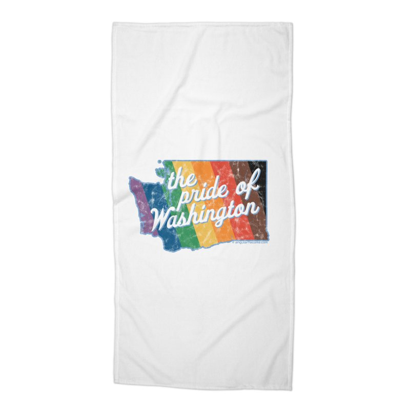 The Pride of Washington WA Rainbow Pride Map Accessories Beach Towel by SymerSpace Art Shop