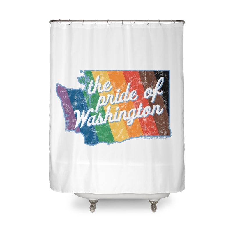 The Pride of Washington WA Rainbow Pride Map Home Shower Curtain by SymerSpace Art Shop