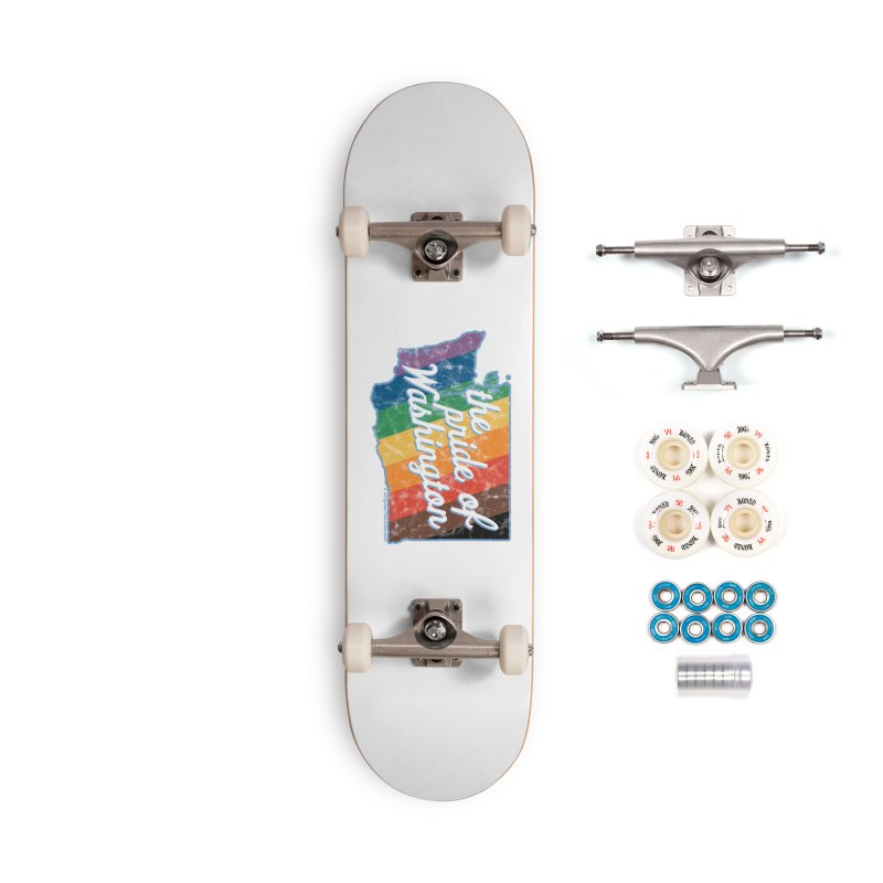 The Pride of Washington WA Rainbow Pride Map Accessories Skateboard by SymerSpace Art Shop