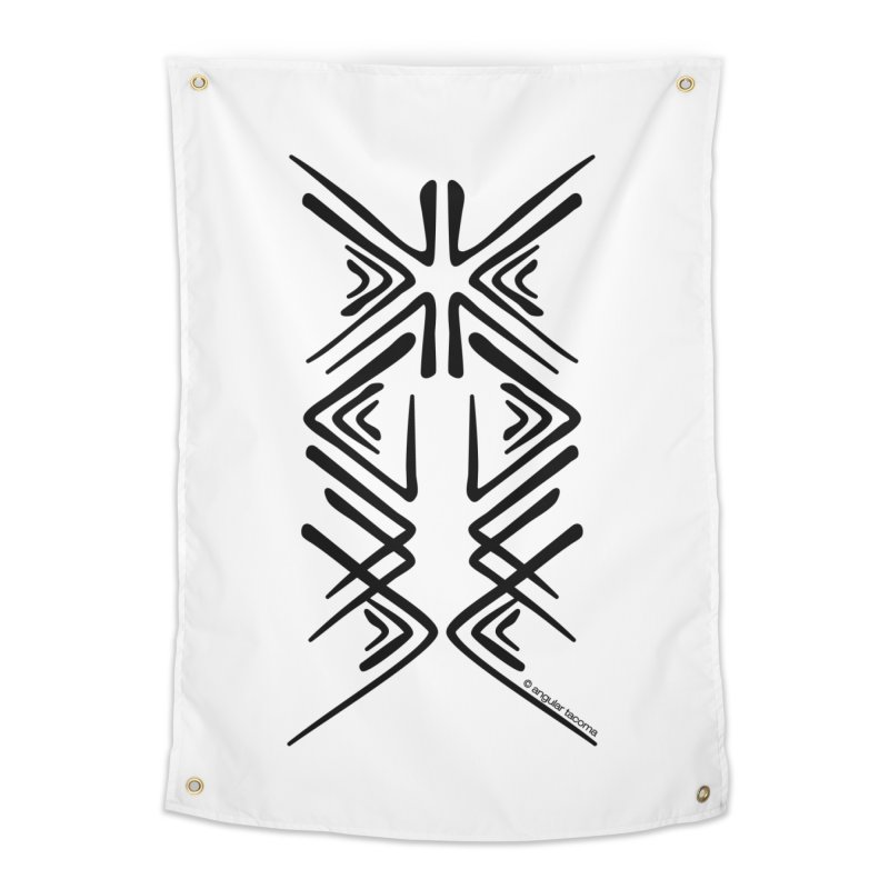 Angular Tacoma - Salish inkblot dark Home Tapestry by SymerSpace Art Shop