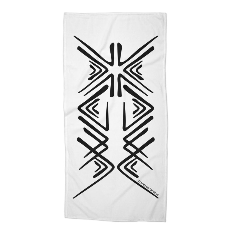 Angular Tacoma - Salish inkblot dark Accessories Beach Towel by SymerSpace Art Shop