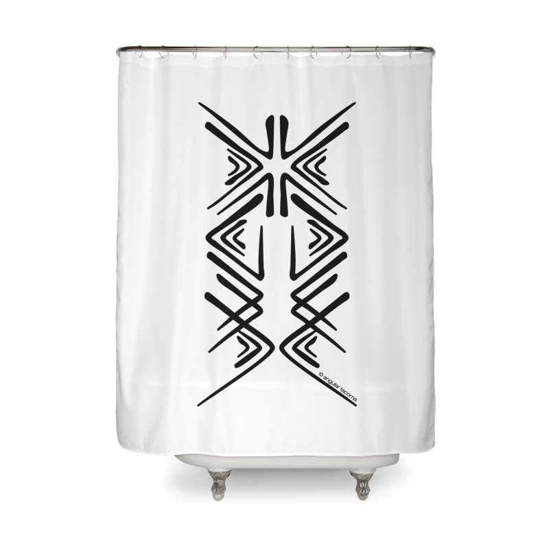 Angular Tacoma - Salish inkblot dark Home Shower Curtain by SymerSpace Art Shop