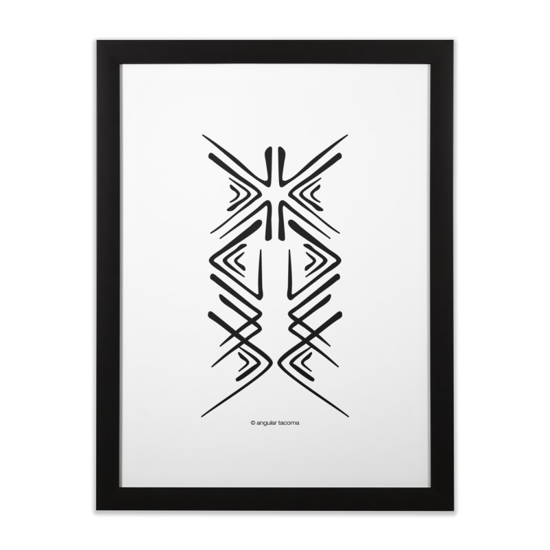 Angular Tacoma - Salish inkblot dark Home Framed Fine Art Print by SymerSpace Art Shop