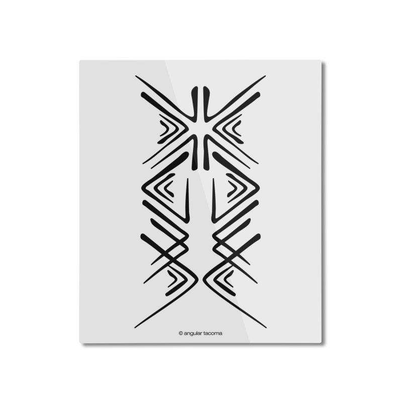 Angular Tacoma - Salish inkblot dark Home Mounted Aluminum Print by SymerSpace Art Shop