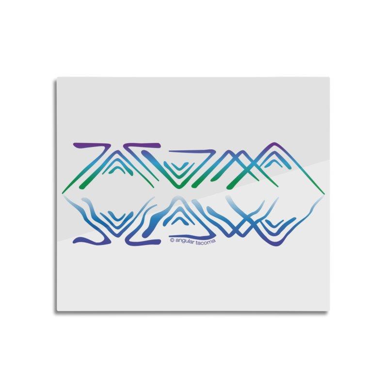 Angular Tacoma - Salish reflections Home Mounted Aluminum Print by SymerSpace Art Shop