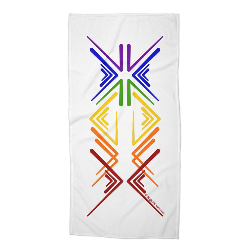 Angular Tacoma - Rainbow Pride Inkblot Accessories Beach Towel by SymerSpace Art Shop
