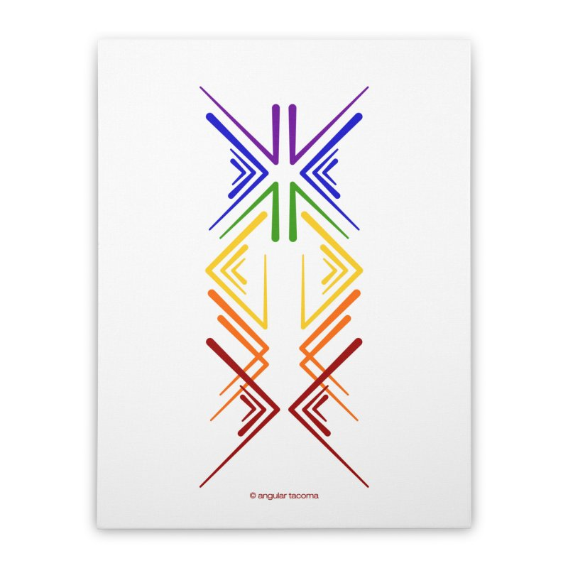 Angular Tacoma - Rainbow Pride Inkblot Home Stretched Canvas by SymerSpace Art Shop