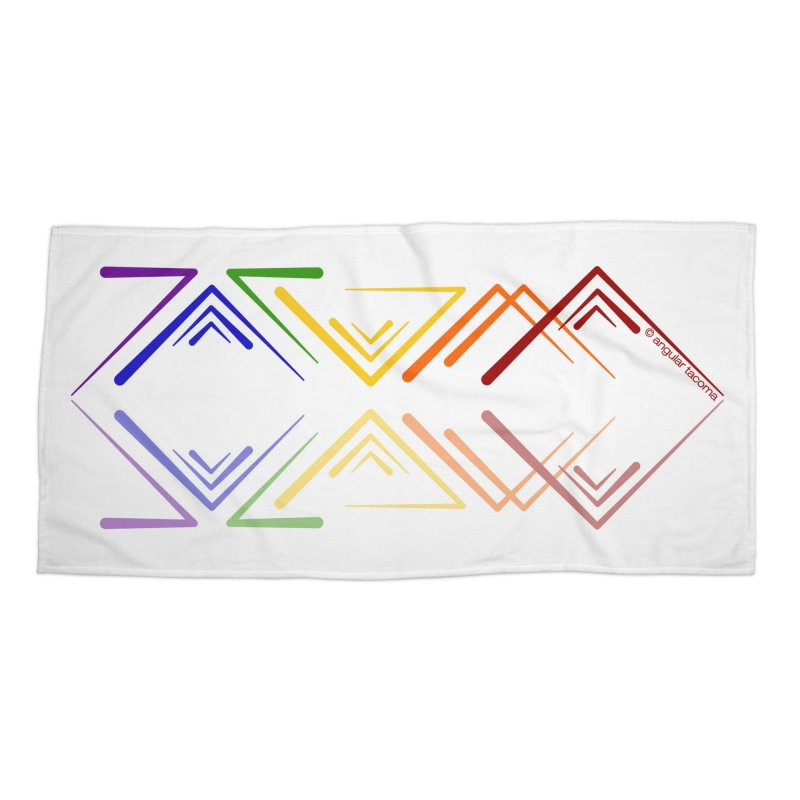 Angular Tacoma - Rainbow Pride Reflection Accessories Beach Towel by SymerSpace Art Shop