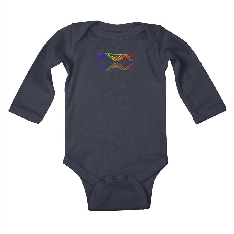 Angular Tacoma - Rainbow Pride Reflection Kids Baby Longsleeve Bodysuit by SymerSpace Art Shop