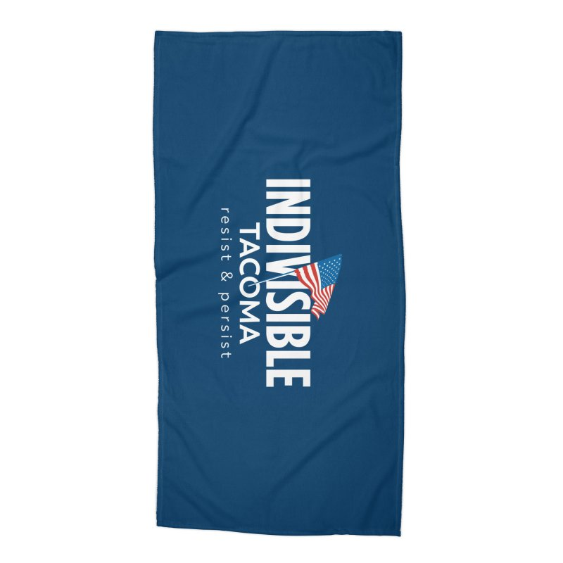 Inidivisible Tacoma flag logo - white Accessories Beach Towel by SymerSpace Art Shop
