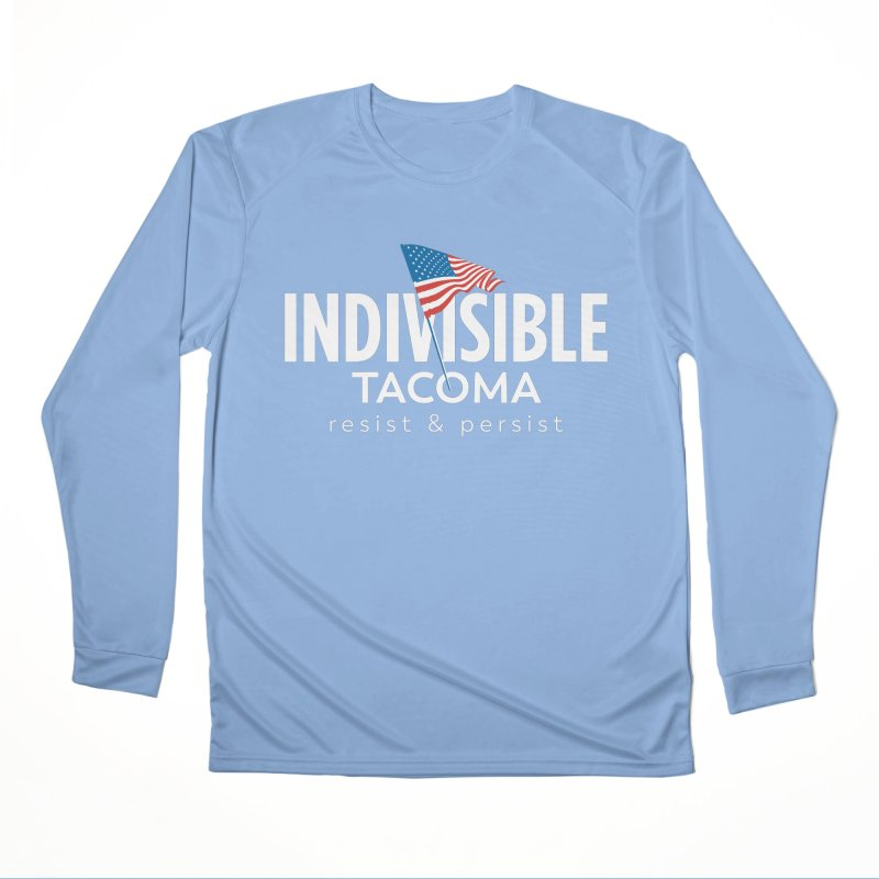 Inidivisible Tacoma flag logo - white Women's Longsleeve T-Shirt by SymerSpace Art Shop