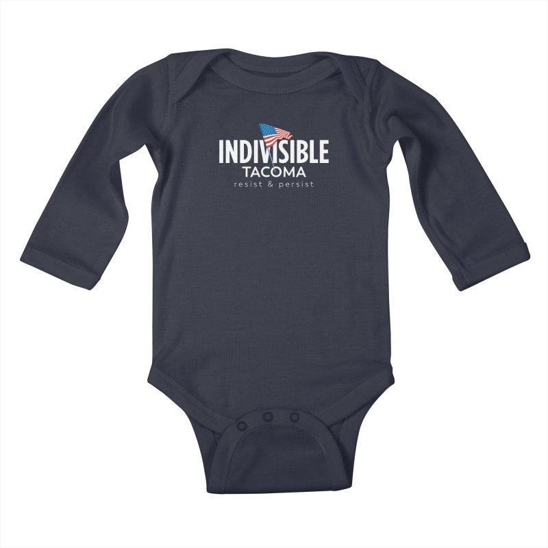 Inidivisible Tacoma flag logo - white Kids Baby Longsleeve Bodysuit by SymerSpace Art Shop