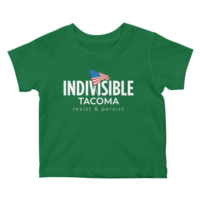 Inidivisible Tacoma flag logo - white Kids Baby T-Shirt by SymerSpace Art Shop