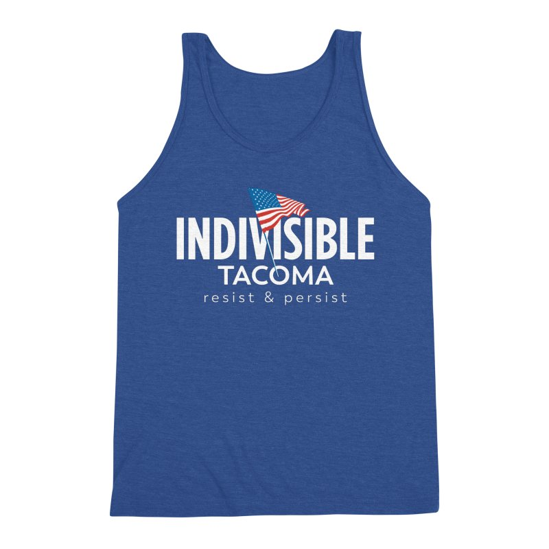 Inidivisible Tacoma flag logo - white Men's Tank by SymerSpace Art Shop