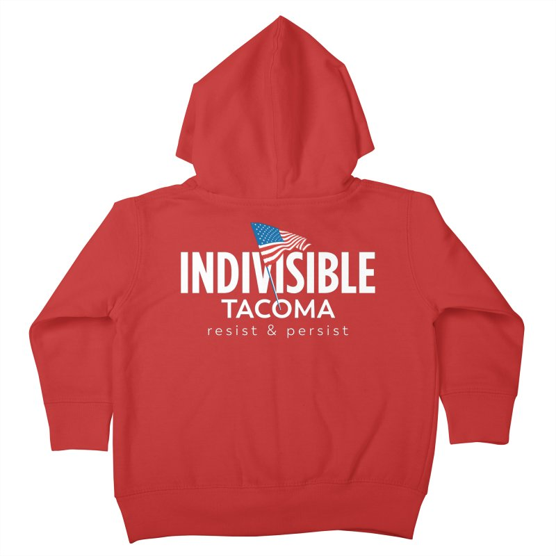 Inidivisible Tacoma flag logo - white Kids Toddler Zip-Up Hoody by SymerSpace Art Shop