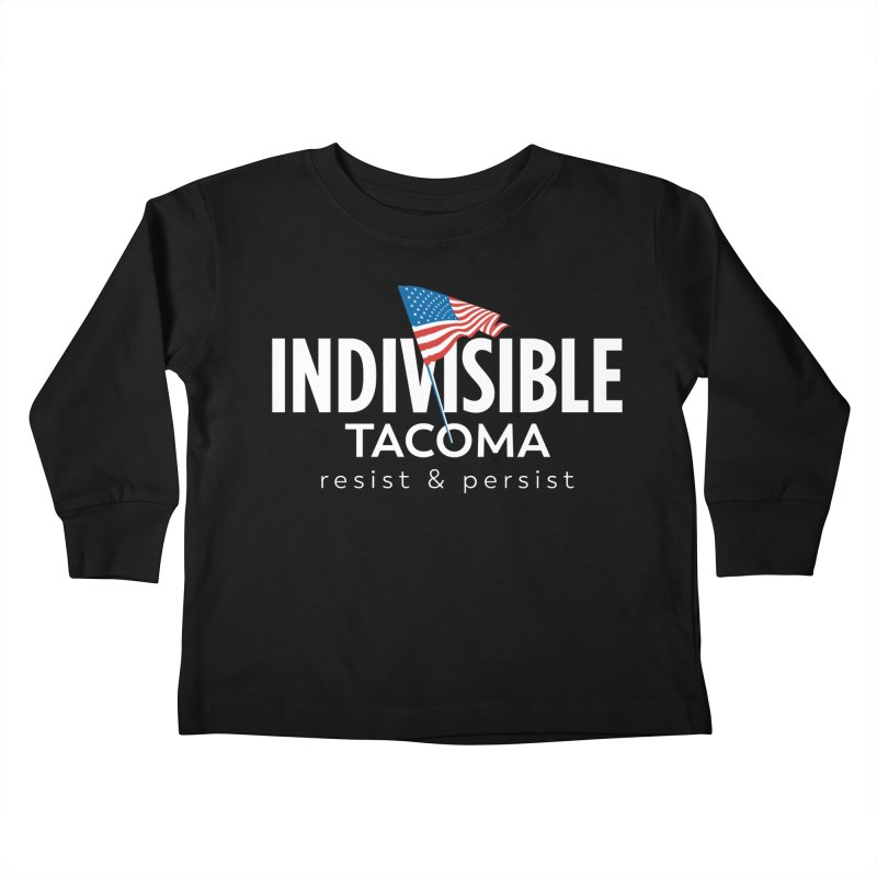 Inidivisible Tacoma flag logo - white Kids Toddler Longsleeve T-Shirt by SymerSpace Art Shop