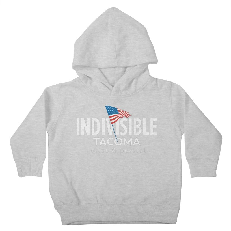 Inidivisible Tacoma flag logo - white Kids Toddler Pullover Hoody by SymerSpace Art Shop