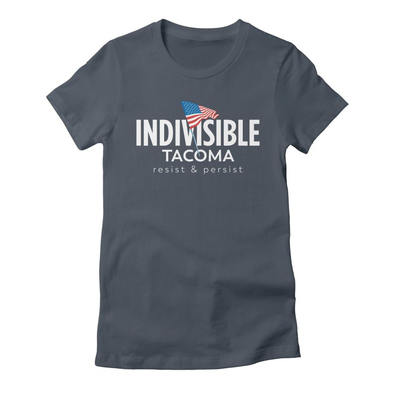 Inidivisible Tacoma flag logo - white Women's T-Shirt by SymerSpace Art Shop