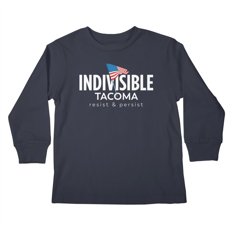 Inidivisible Tacoma flag logo - white Kids Longsleeve T-Shirt by SymerSpace Art Shop